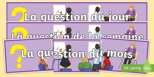 Question of the Day Week Month French Display Banner