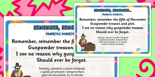 Remember, Remember Rhyme Display Poster Polish Translation - polish