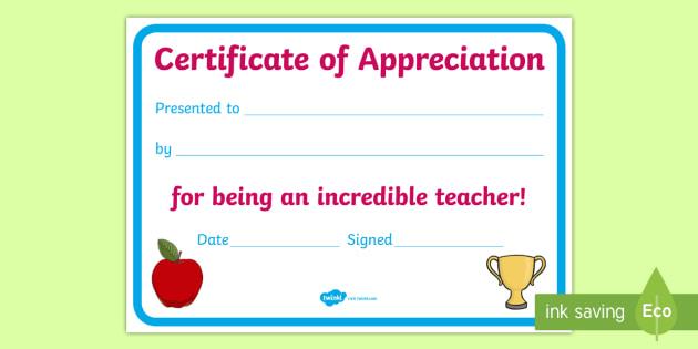 teacher appreciation certificate teacher appreciation week