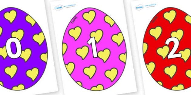 Numbers 0-100 on Easter Eggs (Hearts) - 0-100, foundation stage numeracy, Number recognition, Number flashcards, counting, number frieze, Display numbers, number posters
