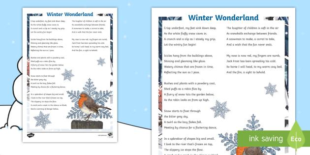 Ks2 Winter Wonderland Poem Christmas Poem Poetry