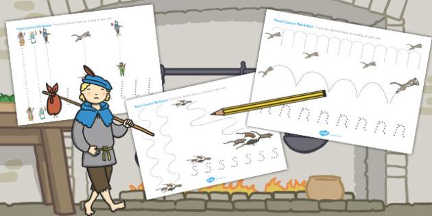 Dick Whittington Pencil Control Sheets - Dick, Control, Pencil