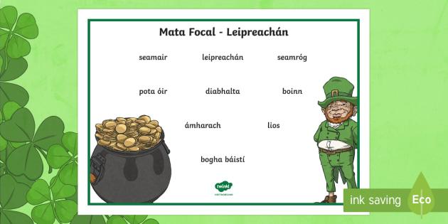 Leprechaun Word Mat Gaeilge La Feile Padraig L F Ile