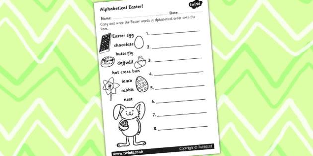 Easter Alphabet Ordering Worksheet - easter, alphabet, a-z, RE