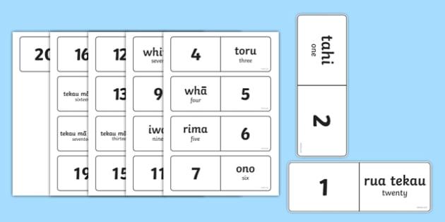 Numbers 1-20 Dominoes Te Reo Māori Translation - te reo maori, new zealand, nz, dominoes