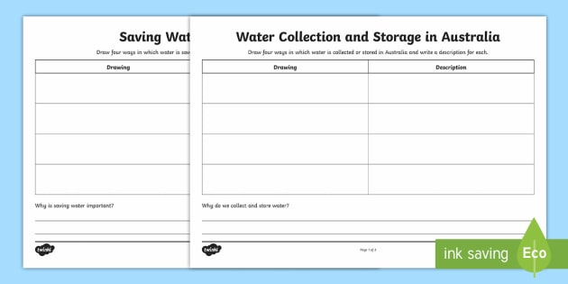 Saving, Collecting and Storing Water in Australia Write and Draw Worksheet / Activity Sheets - Water in Australia, collecting water, storing water, sustainability, saving water ,Australia