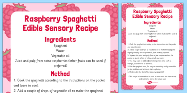 Raspberry Spaghetti Edible Sensory Recipe - raspberry, spaghetti, edible, sensory, recipe