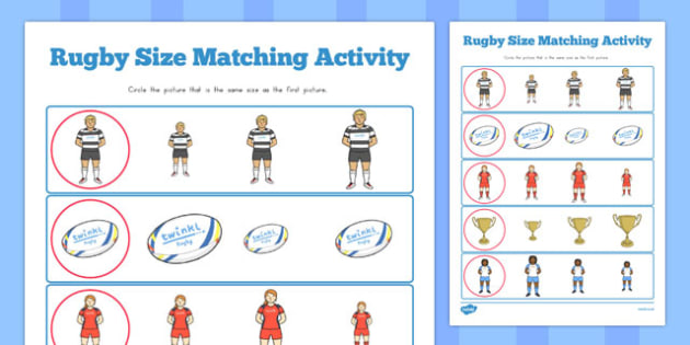 Rugby Size Matching Worksheets - australia, size matching, worksheets