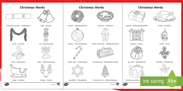Christmas Words Colouring Pages English German