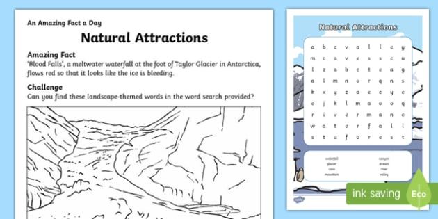 Natural Attractions Wordsearch Activity Sheet, worksheet