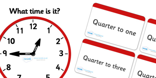 Clock Matching Game - Quarter To - Clock time matching game, Time, Time resource, Time vocabulary, clock face, O'clock, half past, quarter past, quarter to, shapes spaces measures, clock game, time game, foundation stage, KS1