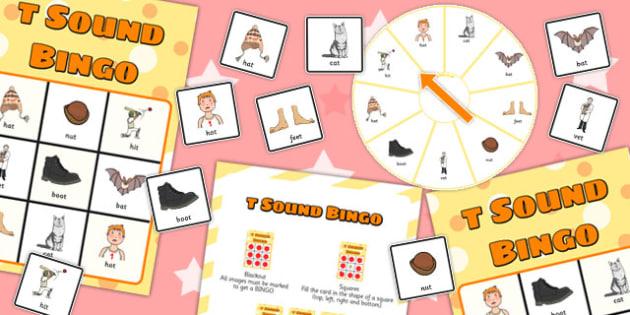 Final 'T' Sound Spinner Bingo - t sound, final, spinner, bingo