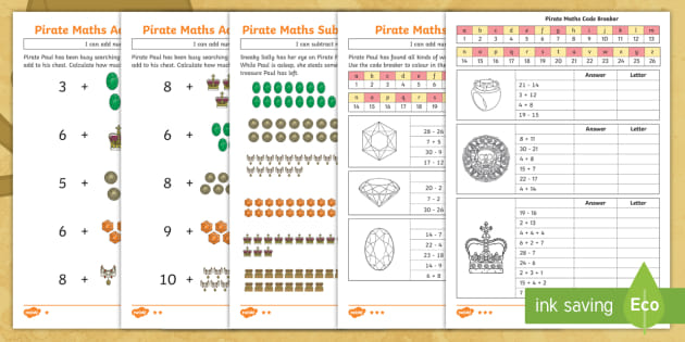new ks1 pirate maths addition and subtraction differentiated worksheets. Black Bedroom Furniture Sets. Home Design Ideas