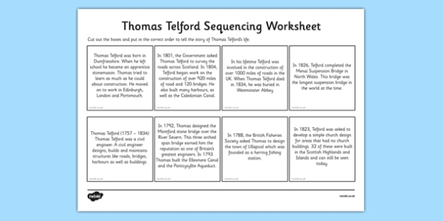 Scottish Significant Individuals Thomas Telford Sequencing Worksheet - engineer, bridges, roads, canals, construction, significant individual