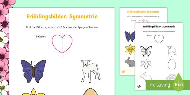 Frühlingsbilder Symmetrie Arbeitsblatt: Geometrische Formen