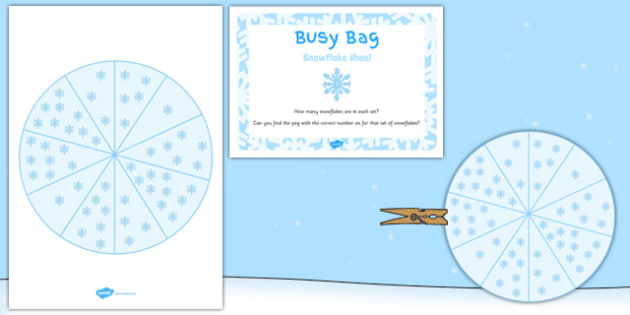 Snowflake Wheel Busy Bag Prompt Card and Resource Pack - snowflake wheel, busy bag