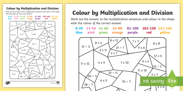 Color By Multiplication And Division To 12 X 12 Worksheet / Worksheet -  Color
