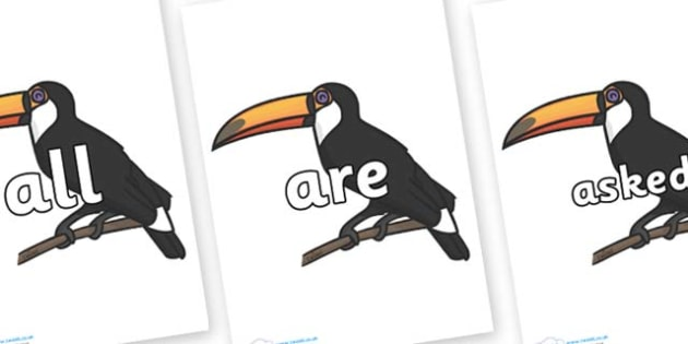 Tricky Words on Toucan - Tricky words, DfES Letters and Sounds, Letters and sounds, display, words