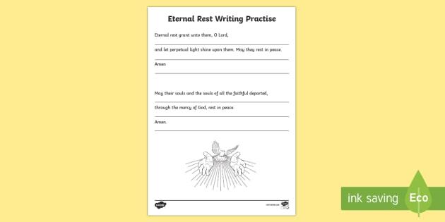 Eternal Rest Writing Practise Activity Sheet-Scottish - CfE Catholic Christianity, prayers, mass responses, Eternal Rest,Scottish, worksheet