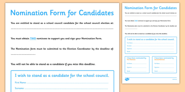 School Council Election Candidate Nomination Form - school