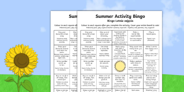 Summer Activity Bingo Polish Translation - polish, summer, activity, bingo, game, summer activity, summer holiday, holiday