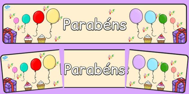 Happy Birthday Display Banner Portuguese - portuguese, happy birthday, display banner, display, banner