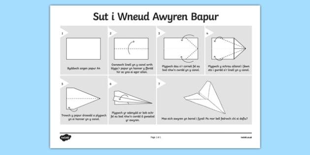 Sut i Wneud Awyren Bapur - welsh, cymraeg, awyren, bapur, sut i wneud, gwneud