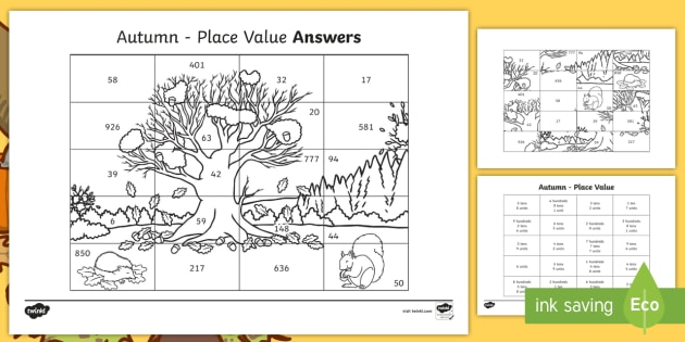autumn themed place value colouring assessment sheet place value tens. Black Bedroom Furniture Sets. Home Design Ideas