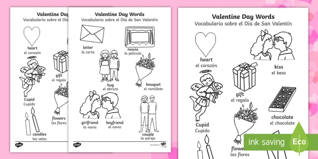 * NEW * Valentine's Day Words Colouring Sheet - English / Spanish  - Valentines Day Words Colouring Sheets - valetines, colouring , colering, colourng, Valantines, valin