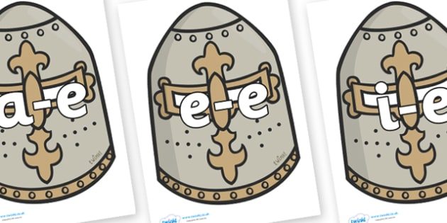 Modifying E Letters on Helmets - Modifying E, letters, modify, Phase 5, Phase five, alternative spellings for phonemes, DfES letters and Sounds