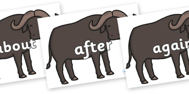 KS1 Keywords on Buffalos - KS1, CLL, Communication language and literacy, Display, Key words, high frequency words, foundation stage literacy, DfES Letters and Sounds, Letters and Sounds, spelling