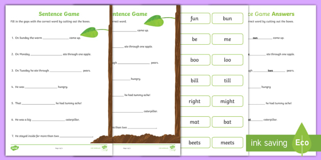 FREE Sentence Worksheet To Support Teaching On The Very