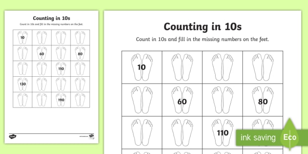 Counting in 10s with Feet Worksheet - counting aid, count, numeracy