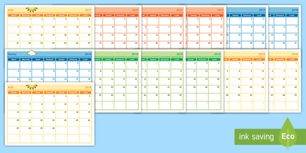 Calendrier Ea.2018 Calendrier Mensuel 2018 Calendrier Mensuel French