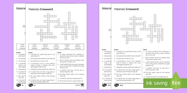 KS3 Materials Crossword