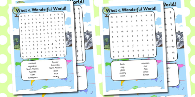 What a Wonderful World Word Search - wonderful world, wordsearch