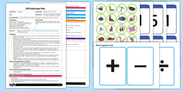 Minibeast Addition Activity EYFS Adult Input Plan and Resource Pack - EYFS, Early Years planning, adult led, insects, Maths, counting.