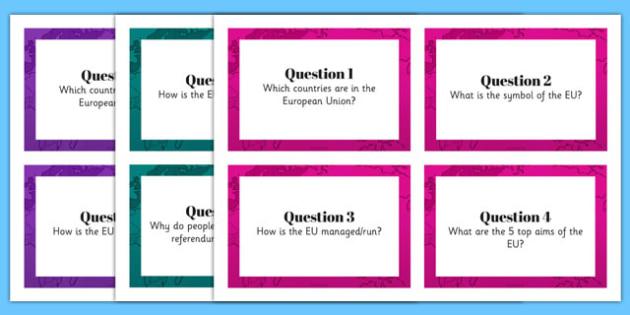European Union Research Task Cards - european union, referendum, quick, draw, research, task, cards