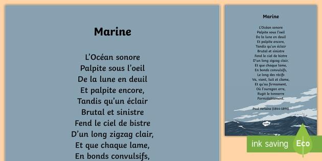 Poésie Marine De Verlaine La Mer Poésie Poem Poème