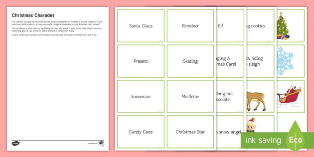 Christmas Charades.Christmas Charades Game Cards Secondary Fun Activity
