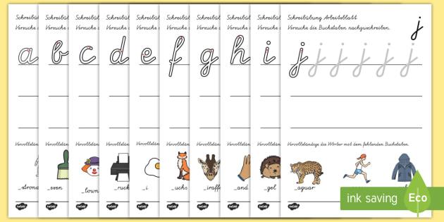 Arbeitsblatt für Buchstabensetzung - Buchstaben, erstes