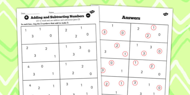 Number Facts to 20 Find Pairs to 3 Worksheet - number, facts, 3