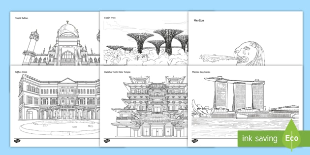 Singapore Landmarks Colouring Pages