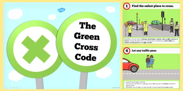 The Green Cross Code PowerPoint - green cross, code, powerpoint
