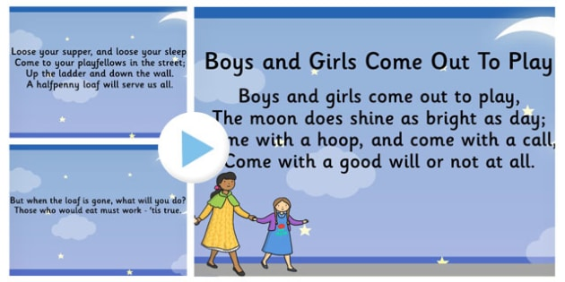 Boys and Girls Come Out to Play Song PowerPoint - powerpoint