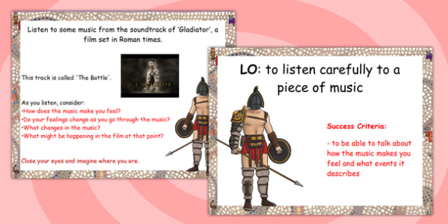 Music from the Gladiator Activity Flipchart - music, gladiator