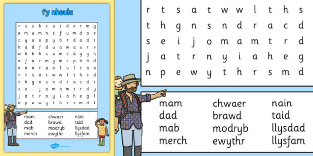 fy nheulu Word Search Cymraeg - cymraeg, welsh, my family, wordsearch, word search