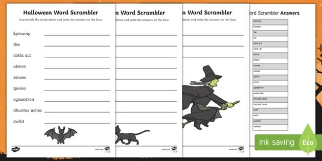 Halloween  Themed Word Unscramble