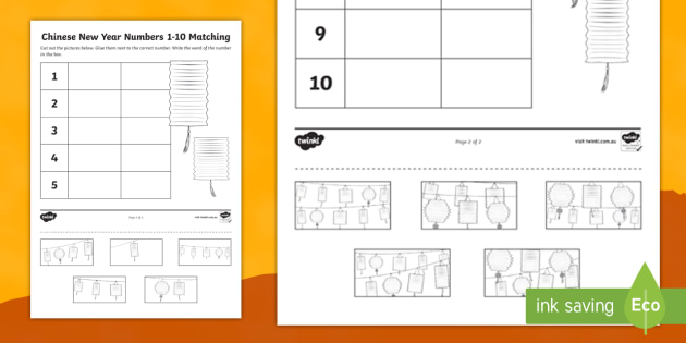 chinese new year numbers 1 10 cut and stick worksheet numbers to 10. Black Bedroom Furniture Sets. Home Design Ideas
