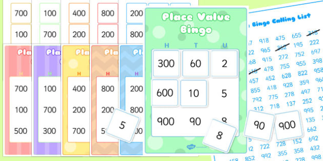 Hundreds, Tens and Units Bingo and Lotto Pack - hundreds, tens, units, bingo